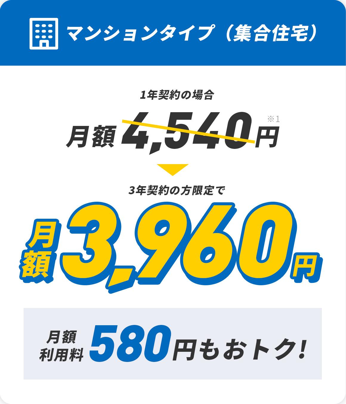 マンションタイプ 集合住宅 月額利用料530円もおトク!