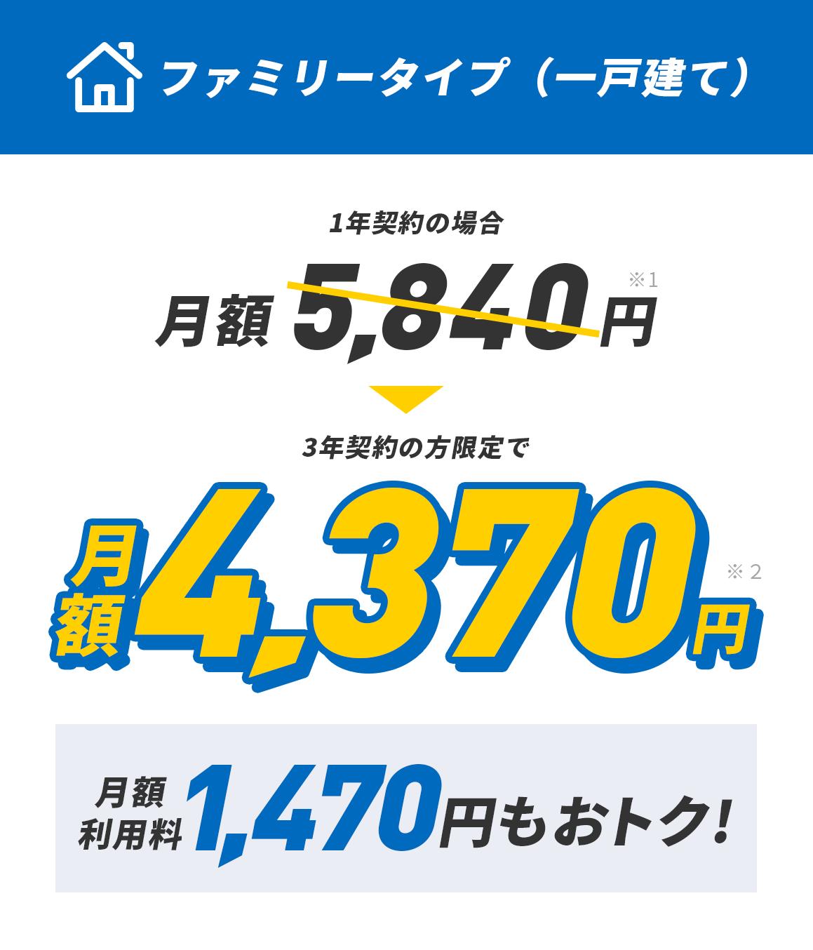 ファミリータイプ一 戸建て 月額利用料710円もおトク!